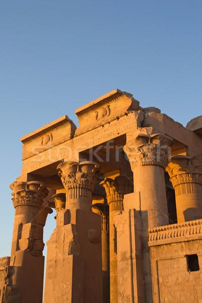 Tapınak gün batımı ışık nehir Mısır Bina Stok fotoğraf © frank11