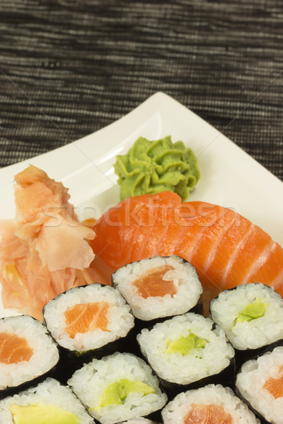 Maki sushi placa jengibre wasabi Foto stock © frank11