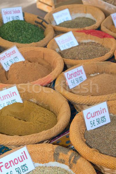 Baharatlar hazır satmak çiftçiler pazar Stok fotoğraf © frank11