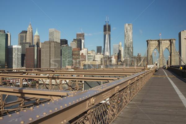 Bajar Manhattan puente Nueva York primer plano rascacielos Foto stock © frank11