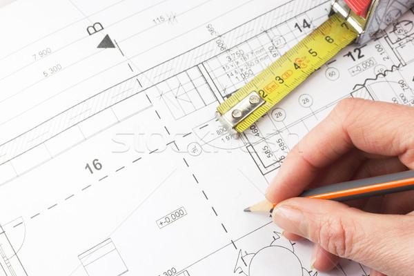 планирования дома строительство архитектора карандашом Сток-фото © frank11