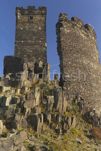 Ruinieren Burg Tschechische Republik Basalt rock Gebäude Stock foto © frank11