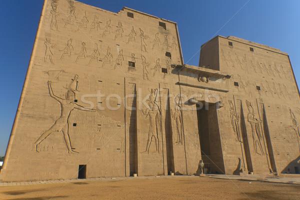 Tempel Egypte egyptische ontwerp kunst Blauw Stockfoto © frank11
