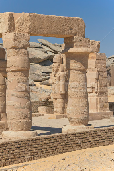 View of columns and statues (The Kalabsha temple, Aswan, Egypt) Stock photo © frank11