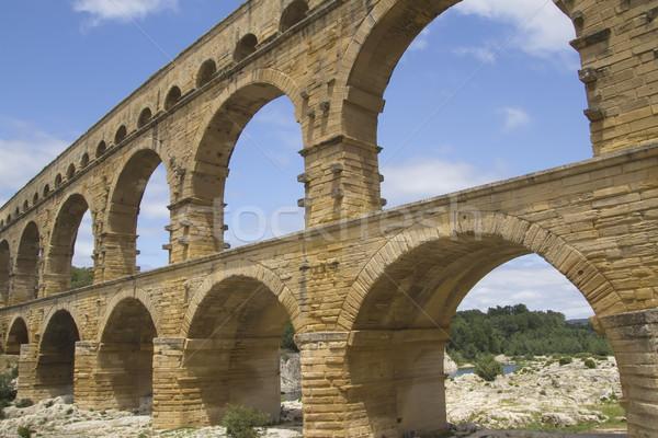 Genel görmek Fransa eski Roma köprü Stok fotoğraf © frank11