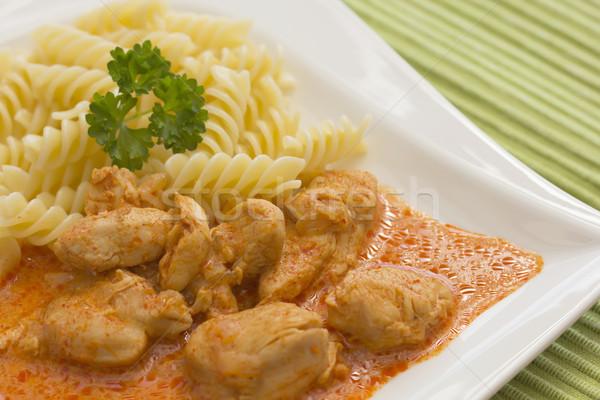 鶏 ピース パスタ パプリカ クリーム ソース ストックフォト © frank11