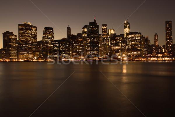 Düşük Manhattan New York gece New York yansıma Stok fotoğraf © frank11