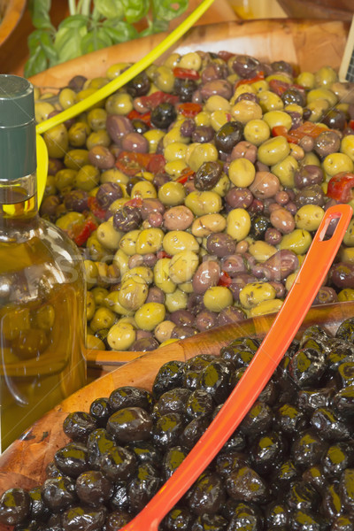 Assortment of olives salads on the market  Stock photo © frank11