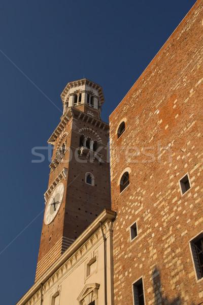 высокий башни Верона Италия закат свет Сток-фото © frank11