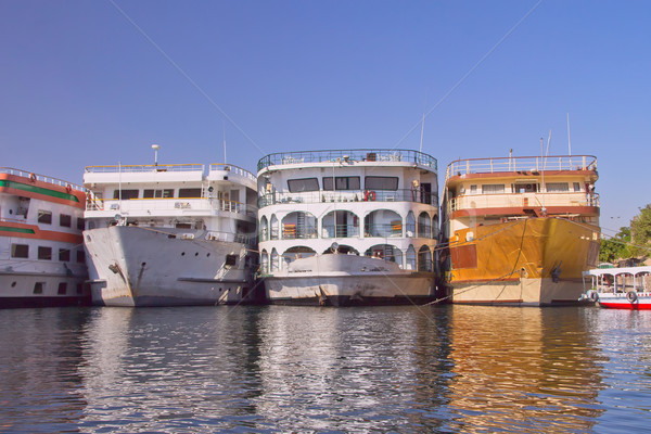 Boats (hotels) anchored in the Luxor (Egypt) Stock photo © frank11