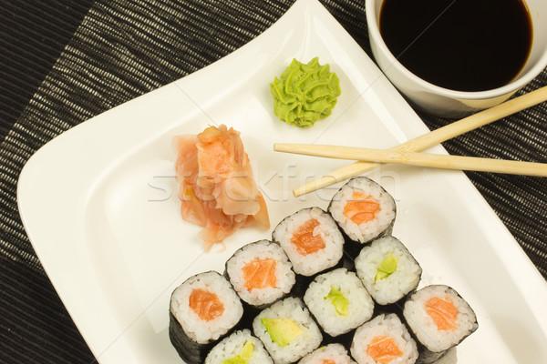 суши пластина маки имбирь wasabi Сток-фото © frank11
