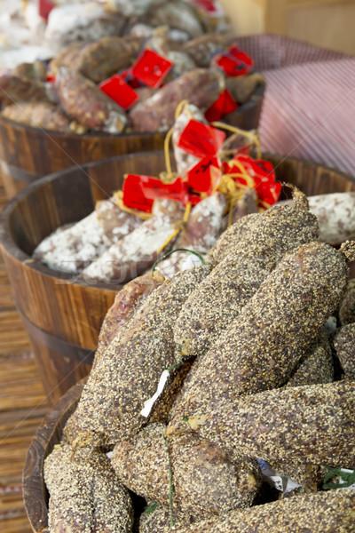 Pimienta salchichas listo venta mercado Francia Foto stock © frank11