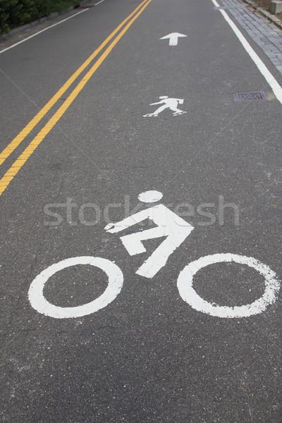 Signos moto patines línea blanco pintado Foto stock © frank11