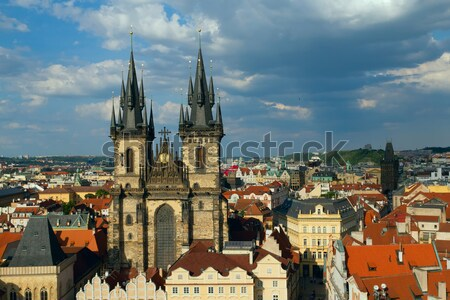 Old town square with Tyn Church (Prague) Stock photo © frank11