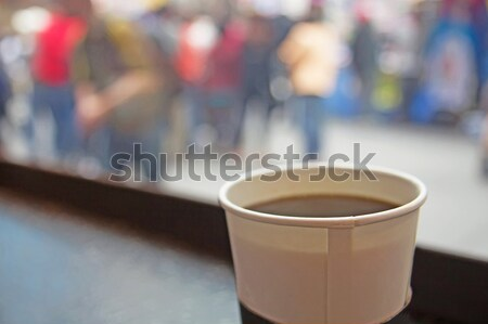 White paper cup of coffee on coffee house. Stock photo © frank11