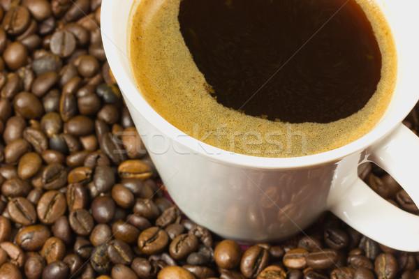 Csésze kávé kávé bab részletes kilátás Stock fotó © frank11
