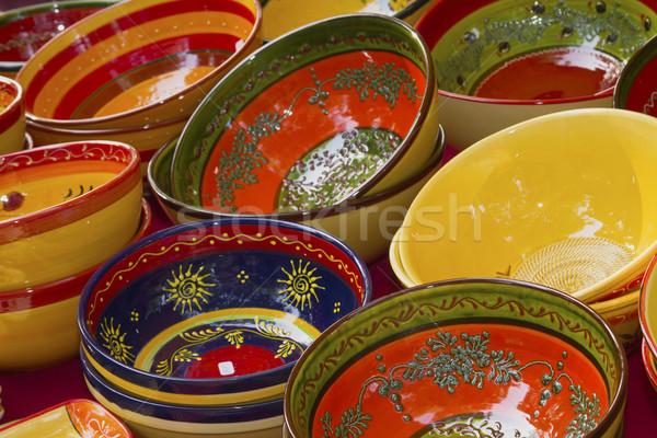 Színes kerámia tálak kész vásár piac Stock fotó © frank11