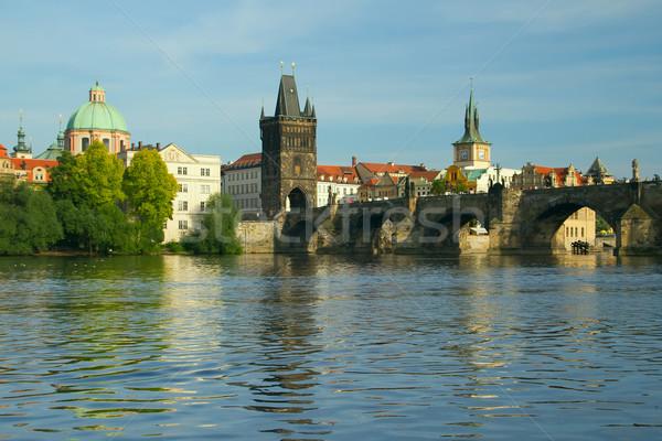 Híd Prága Csehország folyó előtér víz Stock fotó © frank11