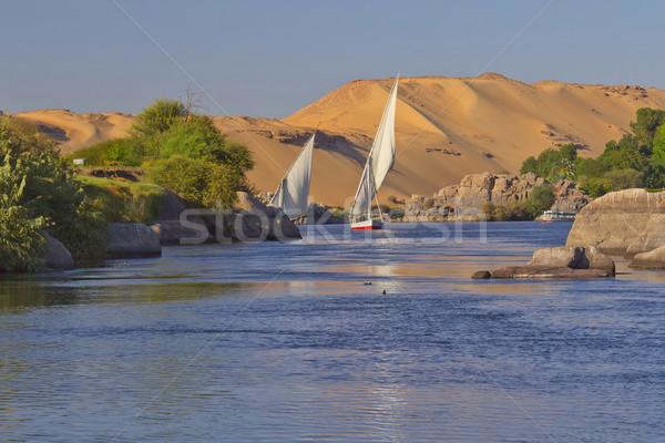 Vitorlázik Egyiptom tipikus homok dombok kék ég Stock fotó © frank11