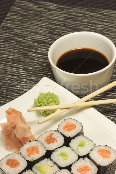 Maki rolls sushi on a plate Stock photo © frank11