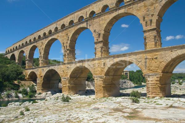 általános kilátás Franciaország ősi római híd Stock fotó © frank11