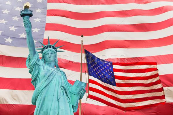 Szobor hörcsög kettő amerikai zászló nagy absztrakt Stock fotó © frank11