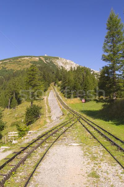 Mountain view with cogwheel railway (Schneeberg, Austria) Stock photo © frank11