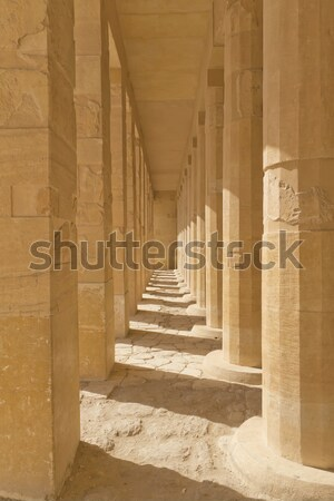 A colonnade of ancient columns at Philae Temple ( Egypt) Stock photo © frank11