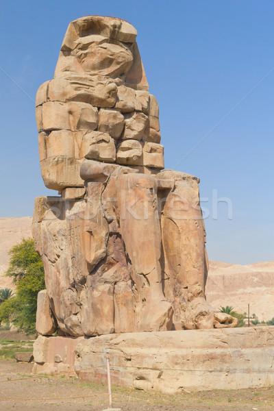 Helyes szobor kettő Luxor Egyiptom óriás Stock fotó © frank11