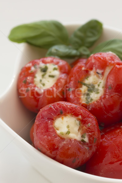 Fűszeres piros paprikák töltött sajt bazsalikom Stock fotó © frank11