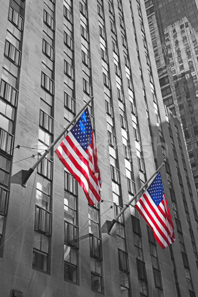 Kettő amerikai zászlók felhőkarcoló monokromatikus fotó Stock fotó © frank11