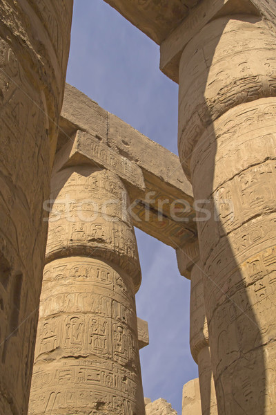 Stock fotó: Oszlopok · Egyiptom · nagyszerű · előcsarnok · Luxor · égbolt