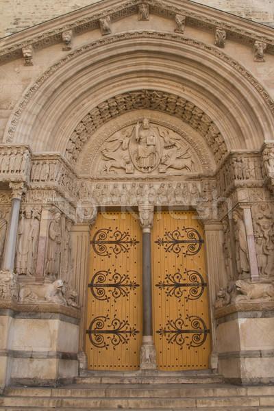Porta részlet Franciaország korai középkor függőlegesen Stock fotó © frank11