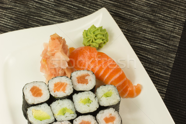 Maki rolls and nigiri sushi on a plate Stock photo © frank11