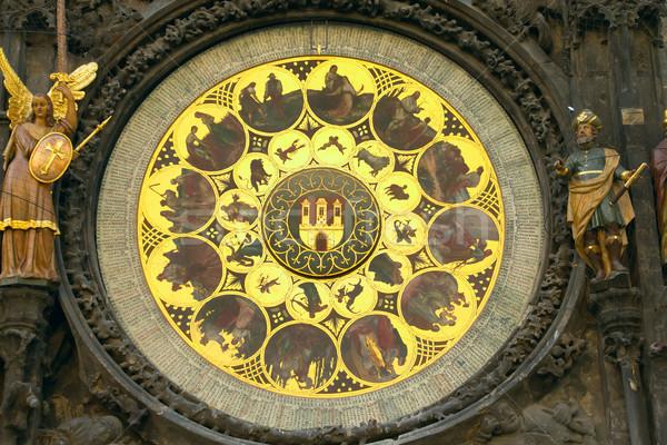 Gouden dierenriem Praag stadhuis Tsjechische Republiek tijd Stockfoto © frank11