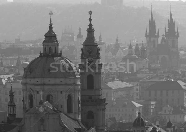 Monochrome photo of architecture of Prague. (Czech Republic) Stock photo © frank11