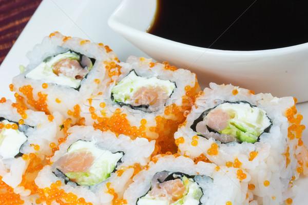 Maki sushi rotolare affumicato anguilla crema Foto d'archivio © frank11