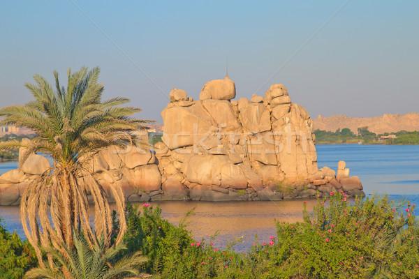 мнение острове озеро Египет храма богиня Сток-фото © frank11