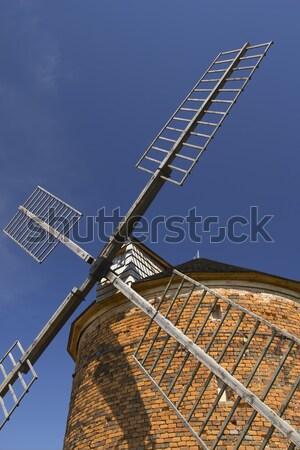 Detallado vista ladrillo molino de viento cielo azul República Checa Foto stock © frank11