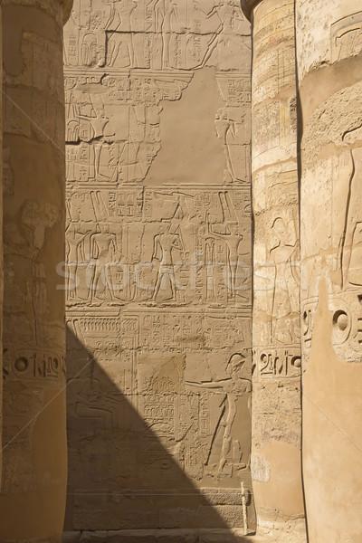 Oszlopok Egyiptom nagyszerű előcsarnok Luxor égbolt Stock fotó © frank11