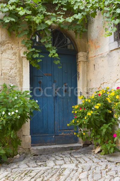 Eski mavi kapı çiçekler şehir Hırvatistan Stok fotoğraf © frank11