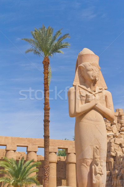 Standbeeld tempel luxor Egypte blauwe hemel textuur Stockfoto © frank11
