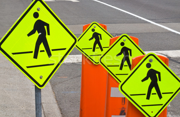 Four pedestrian traffic warning signs Stock photo © Frankljr