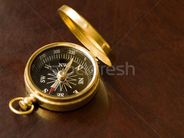 Messing kompas oude abstract reizen uitvoerende Stockfoto © Frankljr