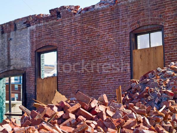 Yıkım tuğla tuğla duvar beton Stok fotoğraf © Frankljr