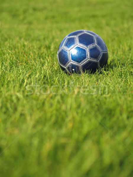 Stock fotó: Kék · futballabda · fű · mező · zöld · fű · fényes