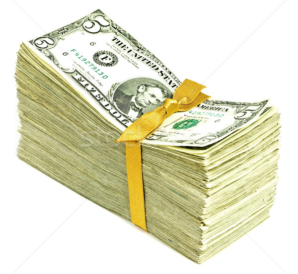 Stack of Older United States Currency Tied in a Ribbon - Fives Stock photo © Frankljr