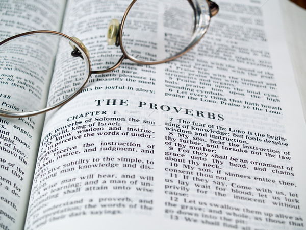 The Bible opened to the Book of Proverbs with Glasses Stock photo © Frankljr
