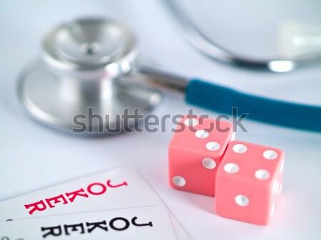 стетоскоп игральных карт игорный лице медицина покер Сток-фото © Frankljr