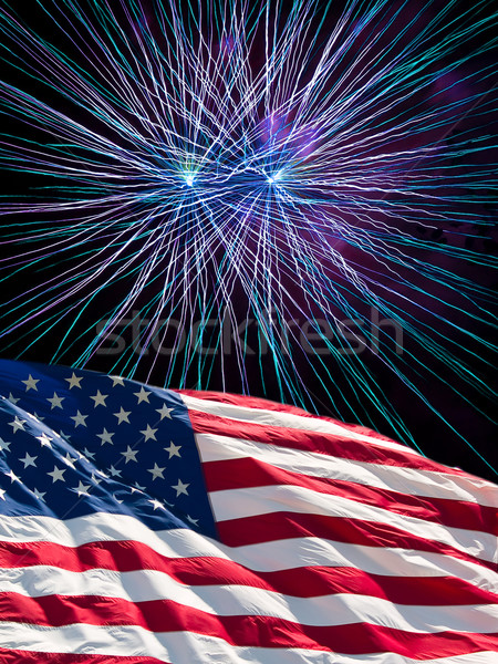 The American Flag and Blue Fireworks from Independence Day Stock photo © Frankljr